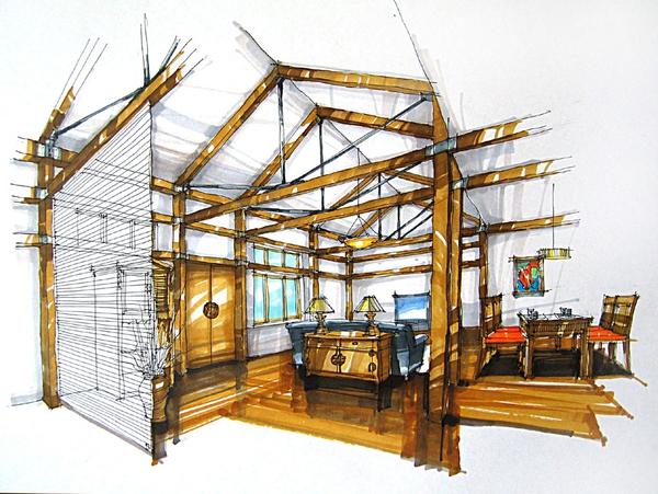 室内设计手绘技巧?突出建筑层次感